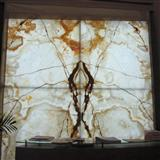 I am very interested in the White Onyx Laminated With Glass Big Panel you released on STONEBTB com