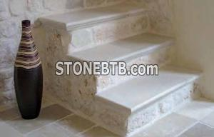 Stairs with tumbled antique finish limestone