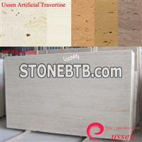 Off-White Artificial Travertine Slabs-ATU0002