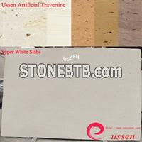 Super White Artificial Travertine Slabs-ATU0001