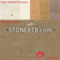 Deep Beige Artificial Travertine Slabs/tile