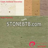 Deep Green Artificial Travertine Slabs-ATU0009