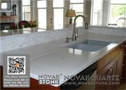 Engineered quartz surfaces stain-resistance quartz