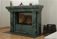 Fireplace in Verde Guatemala Marble