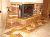 Red Travertine Fireplace