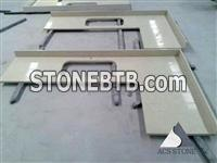 Beige color engineered stone kitchentop