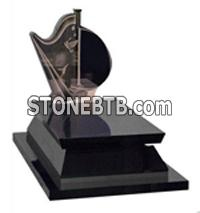 Black Granite Tombstone, stone sculpture