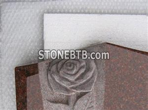 Red Granite Headstone Carving Details