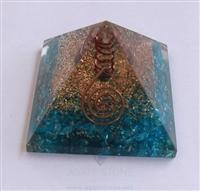 Blue Orgone Energy Pyramid With Crystal Point