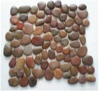 Red pebble on mesh