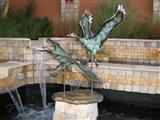 Antique Travertine Fountain- Bronze Sculpture