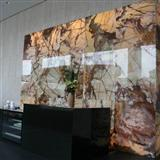 backlit brown onyx glass niche wall