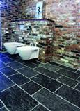 Slate flooring, bath design