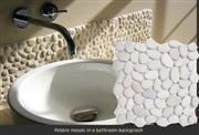 White bathroom pebble tile
