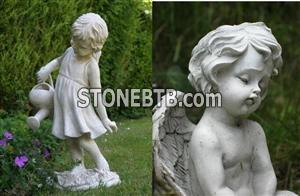 Stone Carved Cute Little Angel Bust Statue
