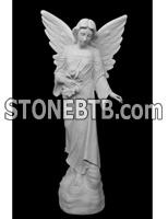 Monument Memorial Angel Model White Marble Cube Headstone Tombstone