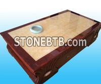 Yellow marble table