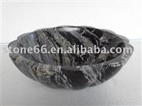 Black Wood Vein Marble Sink