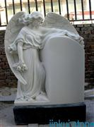 White Marble Carved Angel Tombstone