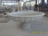 white stone art flower pot