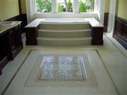 Bath centrepiece-Mosaic flooring, bathtub