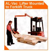 AL-Vac Lifter mounted to Forklift Truck