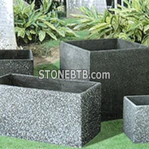 G654 Dark Grey Granite Flower Pot