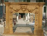 Yellow Marble Carved Stone Fireplace
