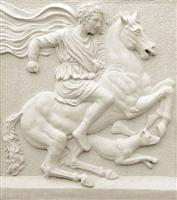 White marble carved panel