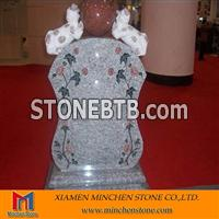 Grey Granite Headstone With Animal Carving