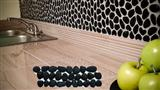 Black kitchen pebble mosaic tile