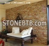Decorative interior wall cladding cut from natural slate stone