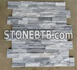 Z shape Exterior / Interior Wall Decoration White Natural Quartz Slate Wall Cladding