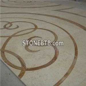 Beige White Black Marble Medallion Tiles Design by CNC Waterjet Cutting