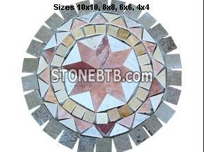 Colorful Circle Quartzite Mosaic Medallion
