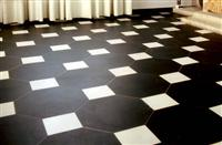 Honed Slate Cut Corners with Big Marble Squares