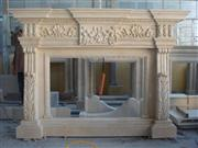 Hand Carved Sandstone Fireplace