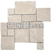 Beige Travertine Mosaic Pattern Tumbled
