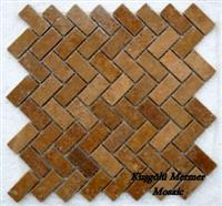 Noce Travertine Tumbled Mosaic K21