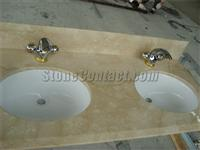 Marble Vanity top with double UPC Ceramic Sink and