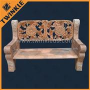 carved decorative natural stone bench