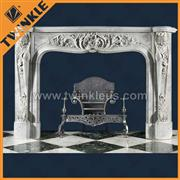 indoor white marble stone fireplace mantel
