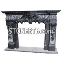 Black color fireplace mantel