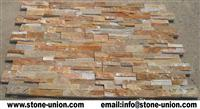 Golden quartzite thin stone veneer panels
