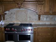 Tumbled Travertine with mosaic medallion