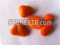 Orange Color Polished Pebbles Stone