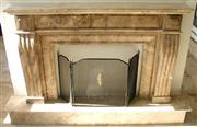 Brown Travertine Fireplace Mantel