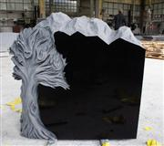 Shanxi Black Polished Tree Carving Tombstone & Monument