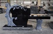 Indian Black Granite American Style Tree Shape Monument & Tombstone Bench