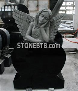 Shanxi Black Polished Heart with Angel Tombstone Monument